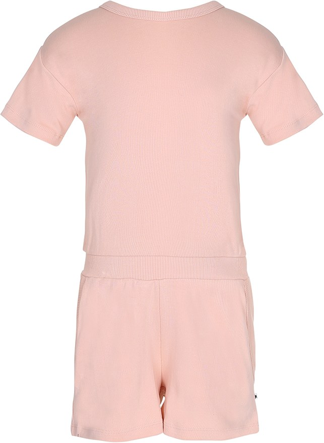 Amira - Pink Sand - Short sleeve peach coloured jersey jumpsuit