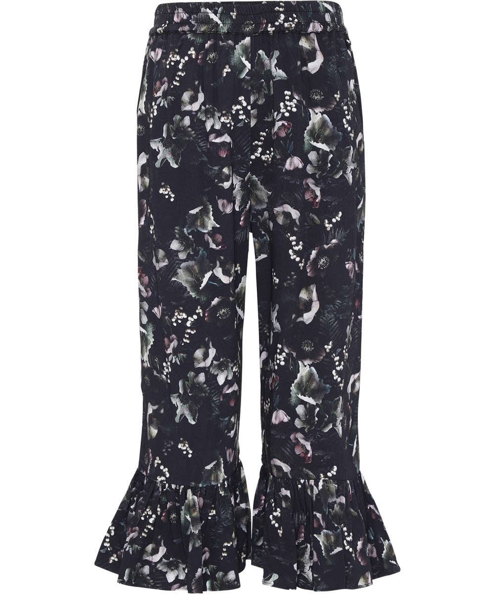 Anis - Moonlight Garden - Dark floral culotte trousers