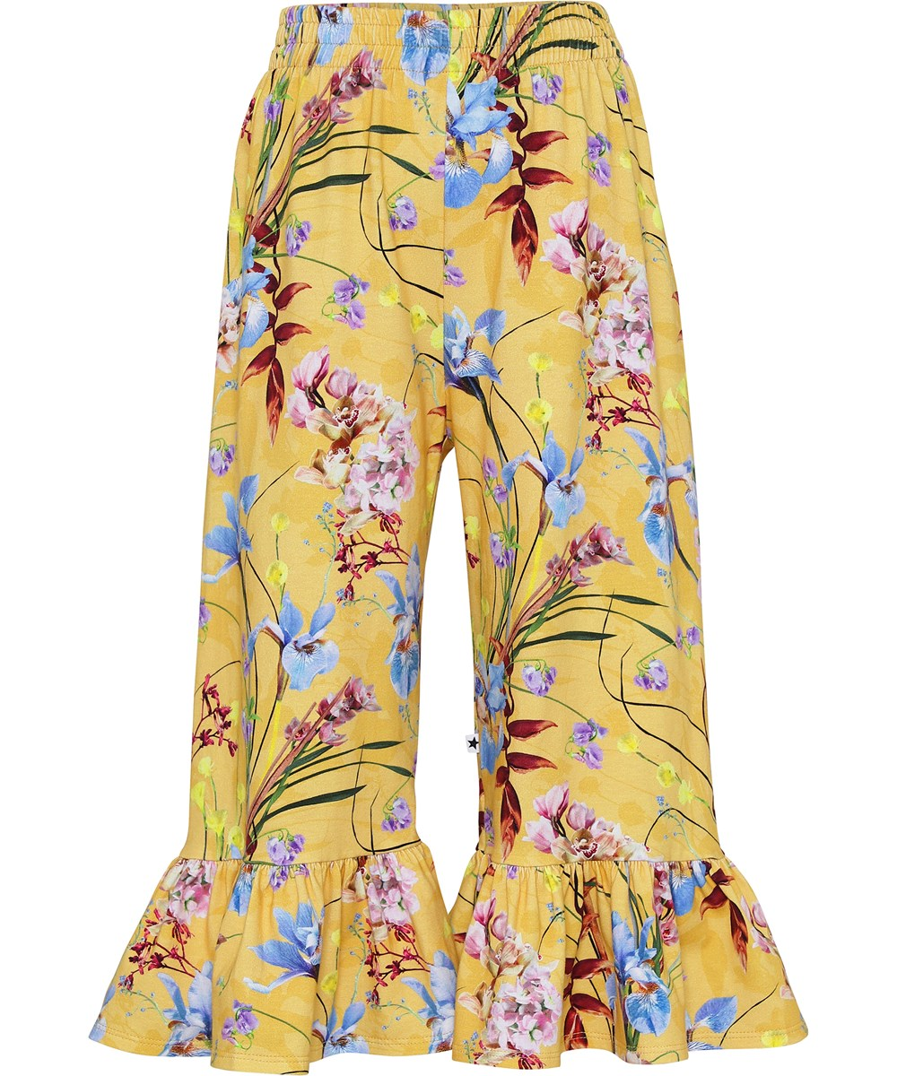 Anis - The Art Of Flowers - Yellow organic culotte trousers