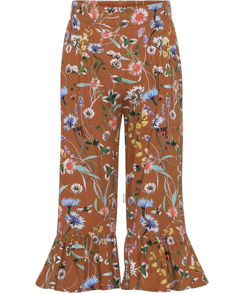 Anis - Wildflowers - Brown organic trousers with flowers