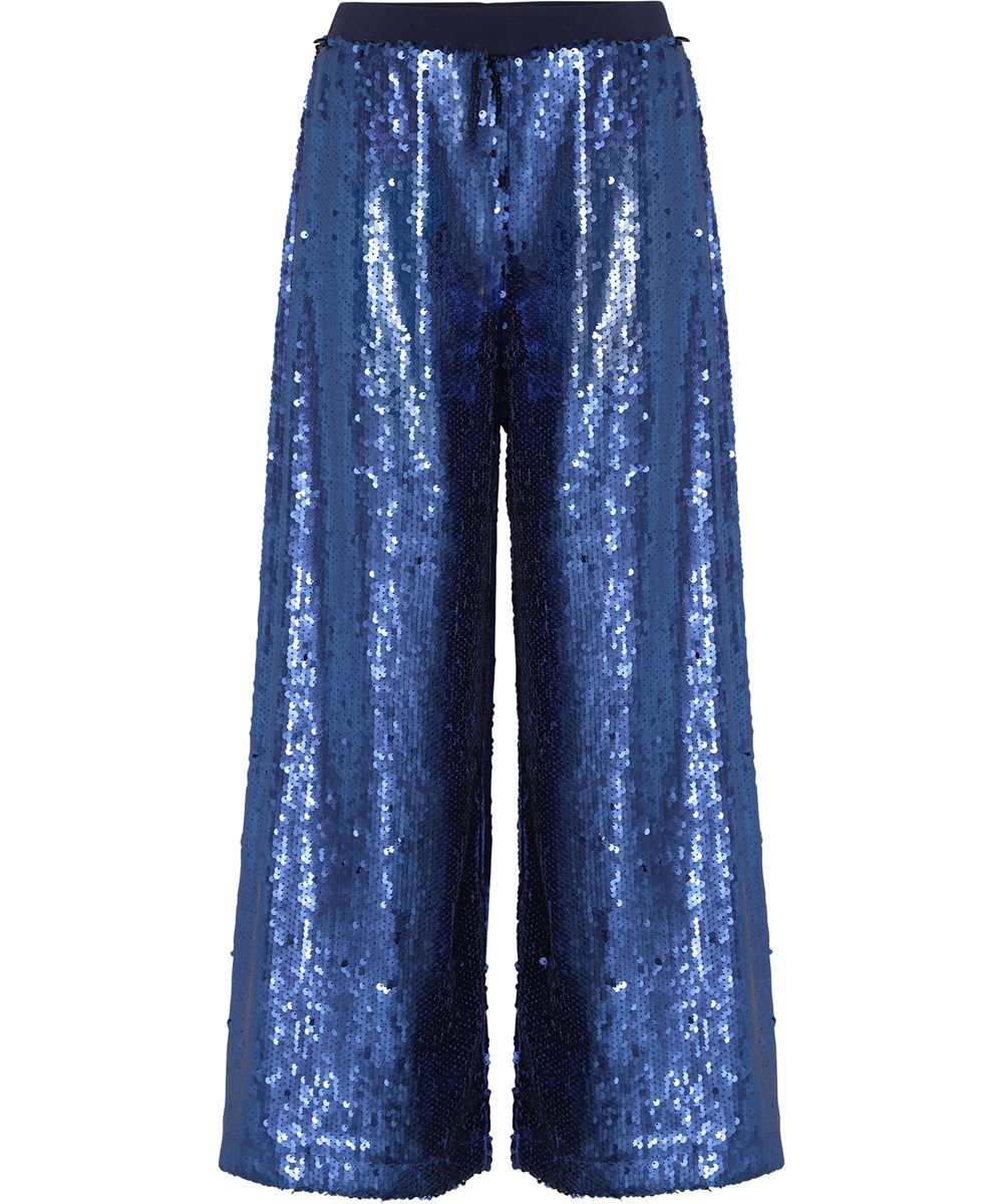 Annette - Blue Waves - Blue sequin trousers