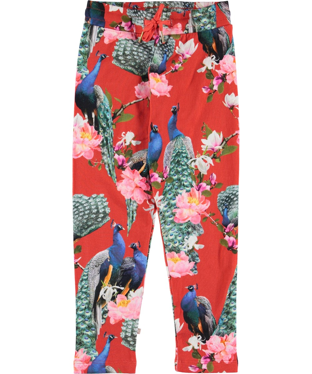 Antonia - Red Peacock - Red trousers with peacocks.