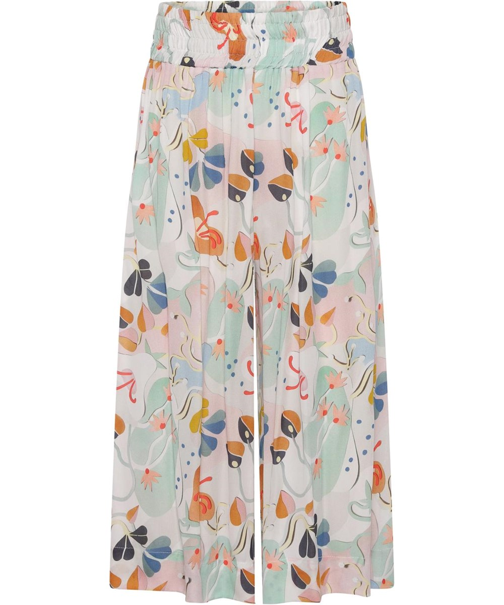 Antonya - Papercut Flowers - Wide pastel coloured trousers with print