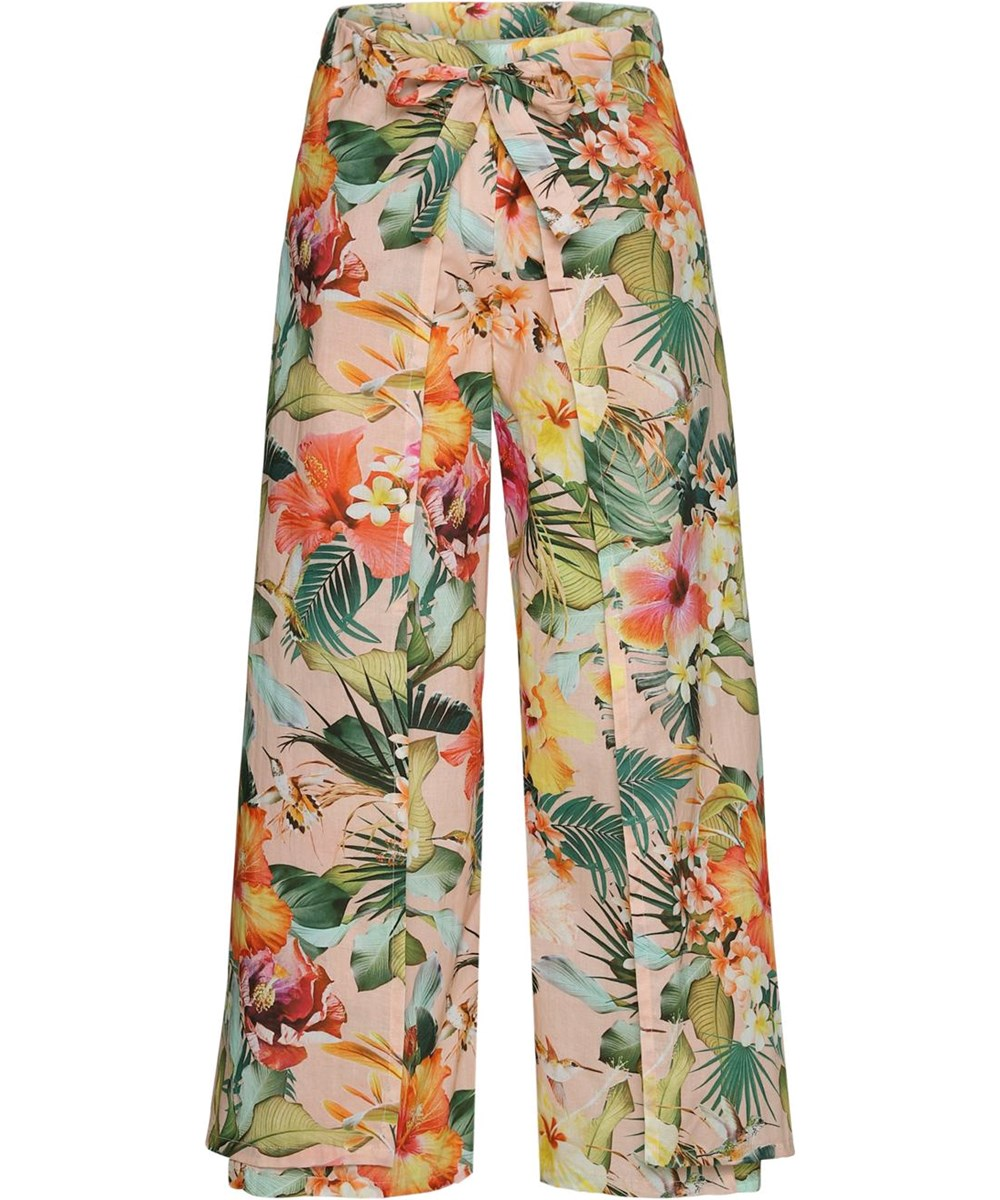 Aretha - Big Hawaiian Flowers - Floral wrap-around trousers