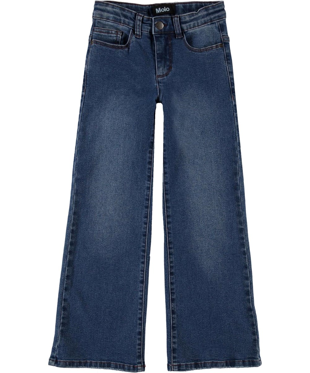 Asta - Mid Blue Wash - Recycled wide, blue jeans