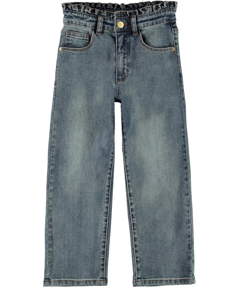 Astrid - Tinted Blue - Blue high waisted jeans with pleated edge