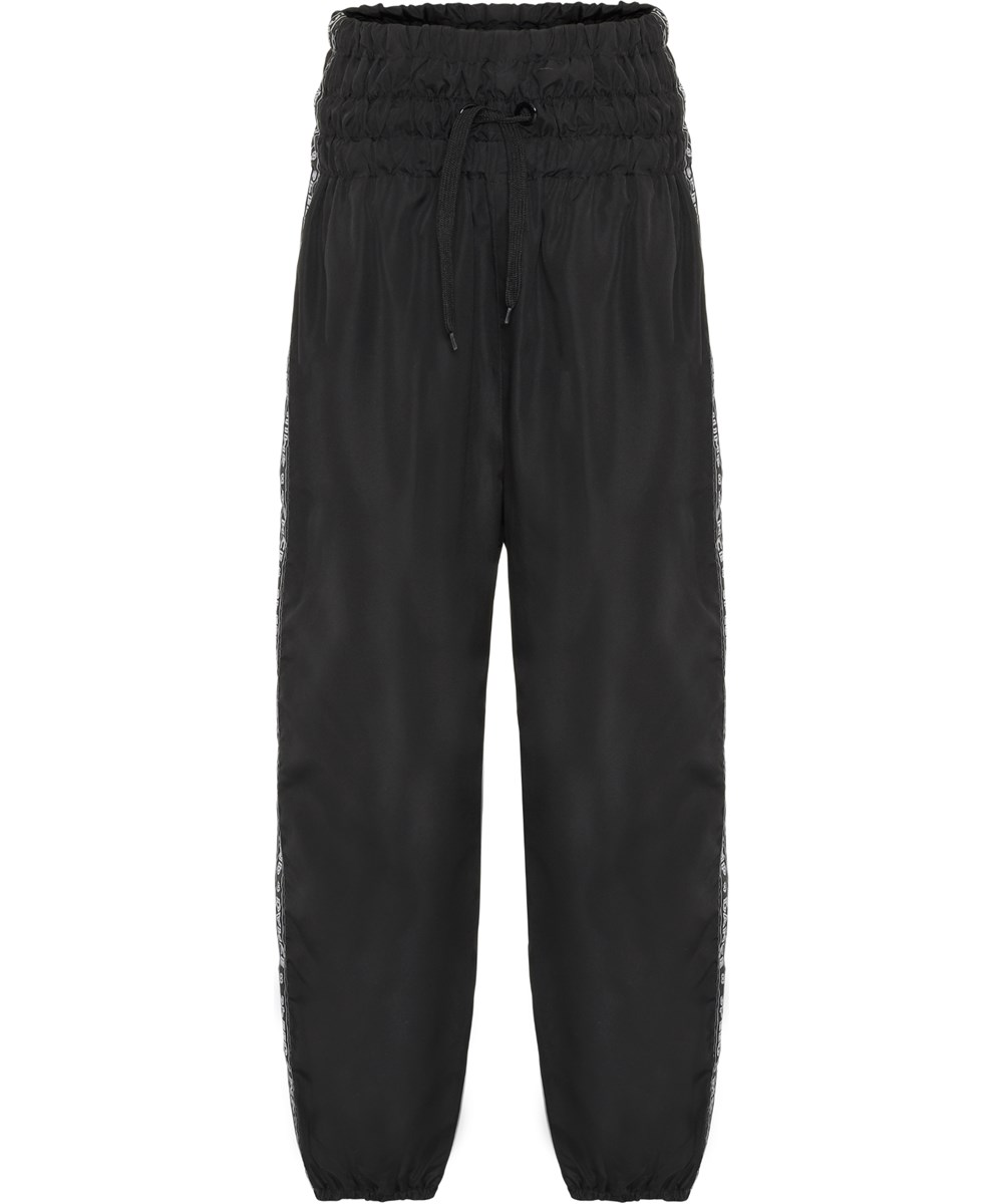 Odina - Black - Black, high waisted trackpants with text