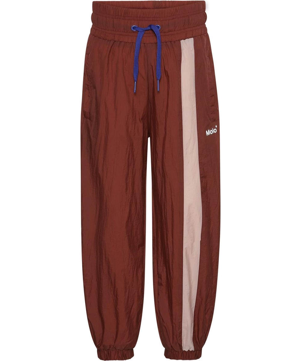 Oleen - Rosewood - Brown sports trousers with rose stripe