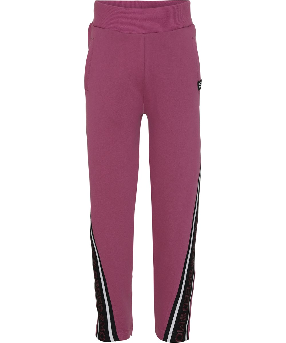 Ozella - Red Violet - Sweatpants in violet with text
