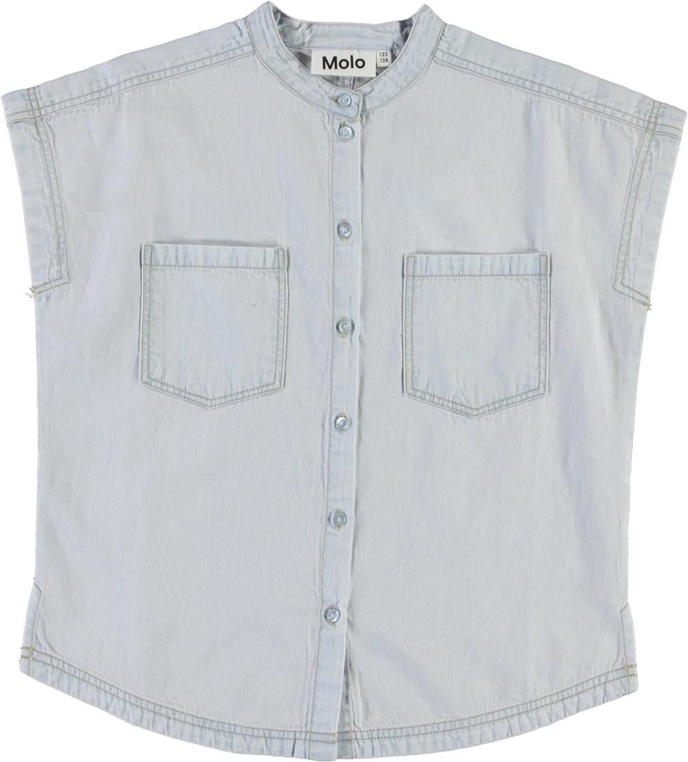 Rae - Washed White - Light blue, sleeveless denim shirt