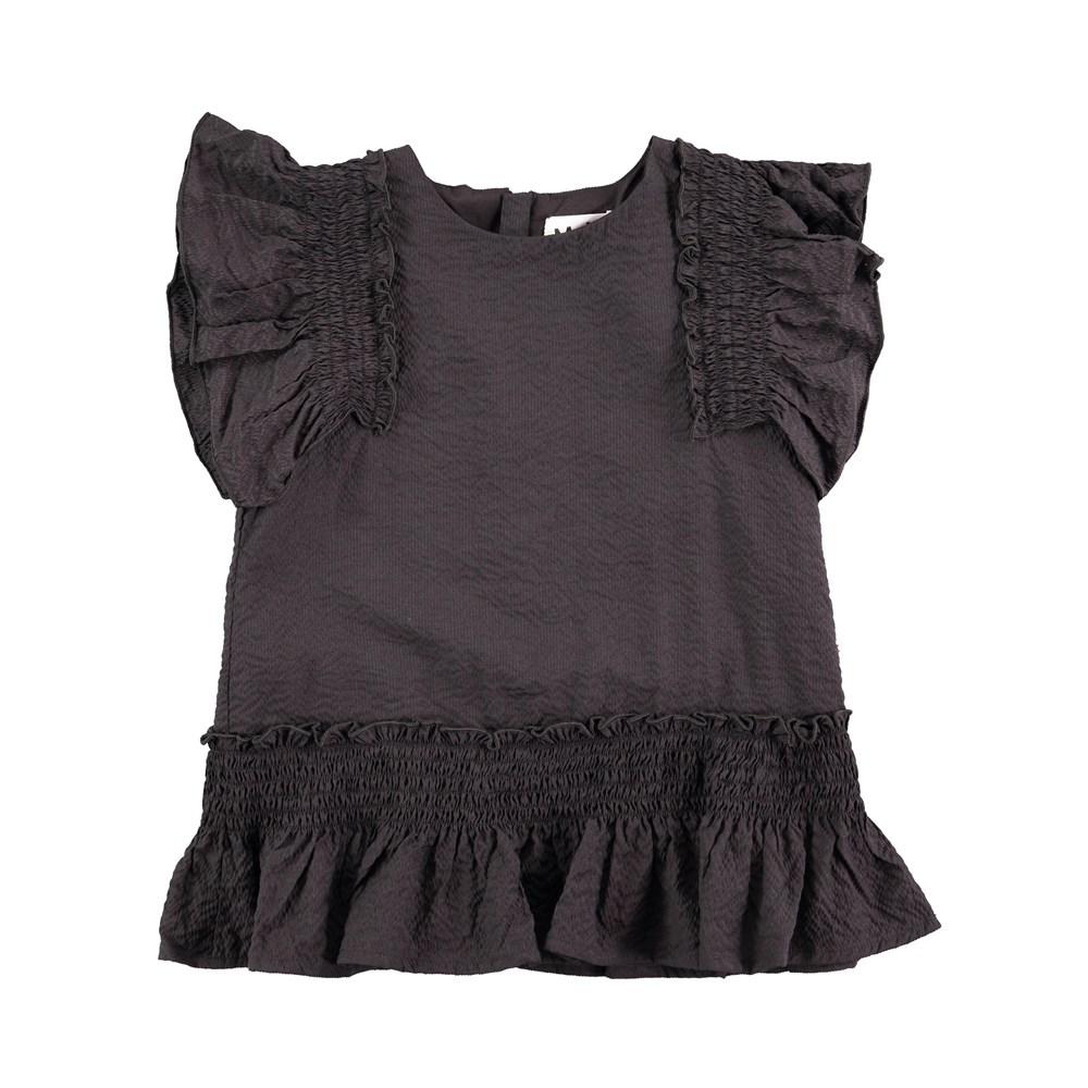 Raelene - Black Bean - lovely black top with ruffles