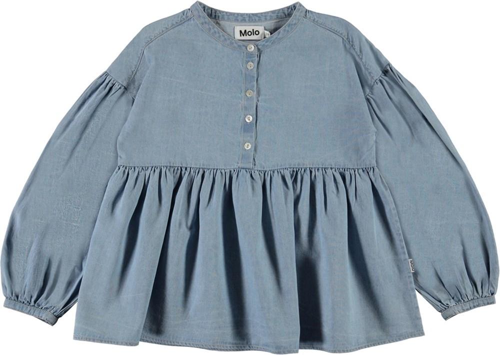 Raluca - Summer Wash Indigo - Light blue denim shirt with puff sleeves