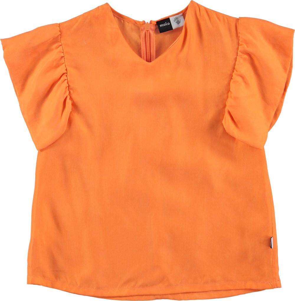 Ramsi - Bird Of Paradise - orange, cupro top with ruffle sleeves