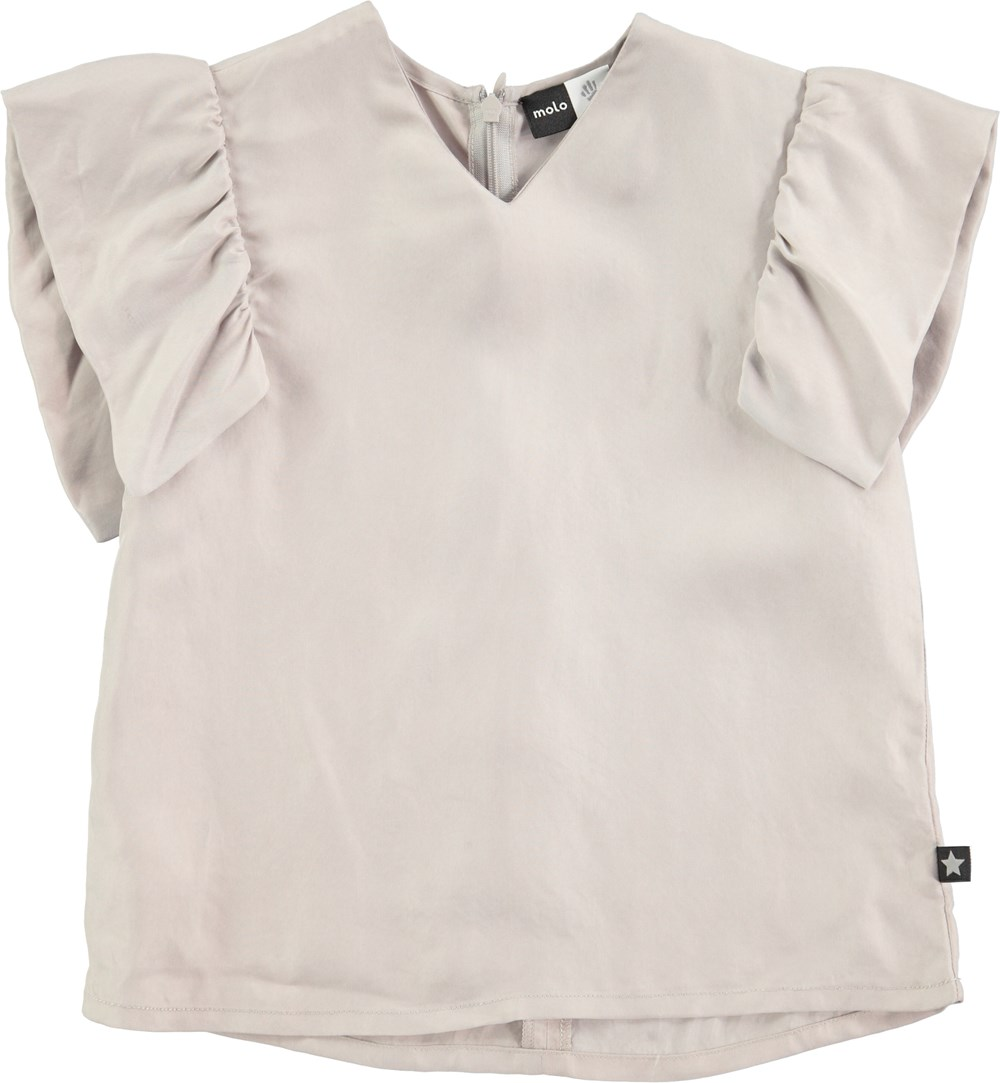 Ramsi - Opal Grey - grey cupro top with ruffle sleeves