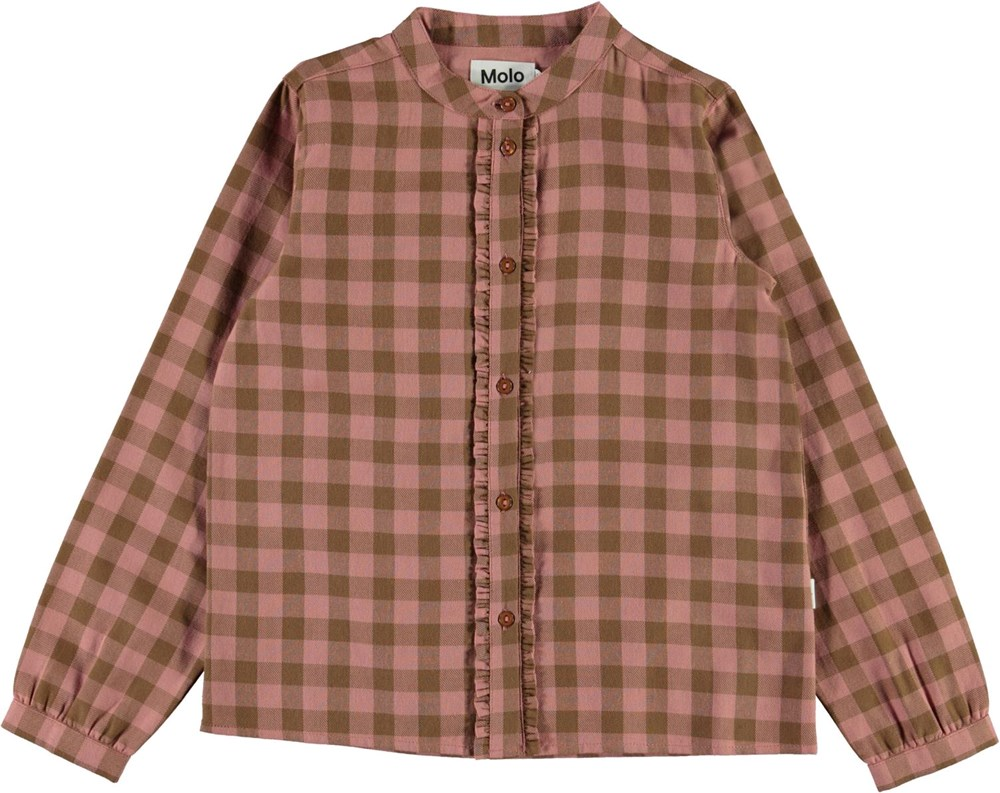 Reanna - Autumn Check - Pink and brown plaid shirt with ruffle