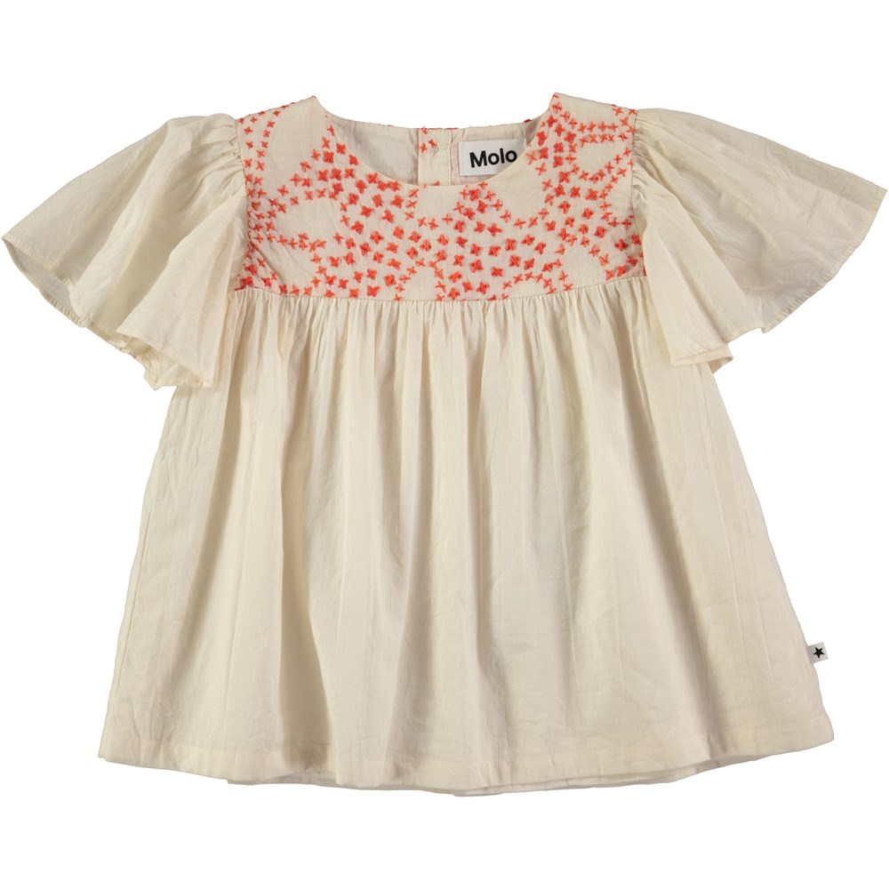 Reanna - Pearled Ivory - Cream coloured top with embroidery and dolmain sleeves