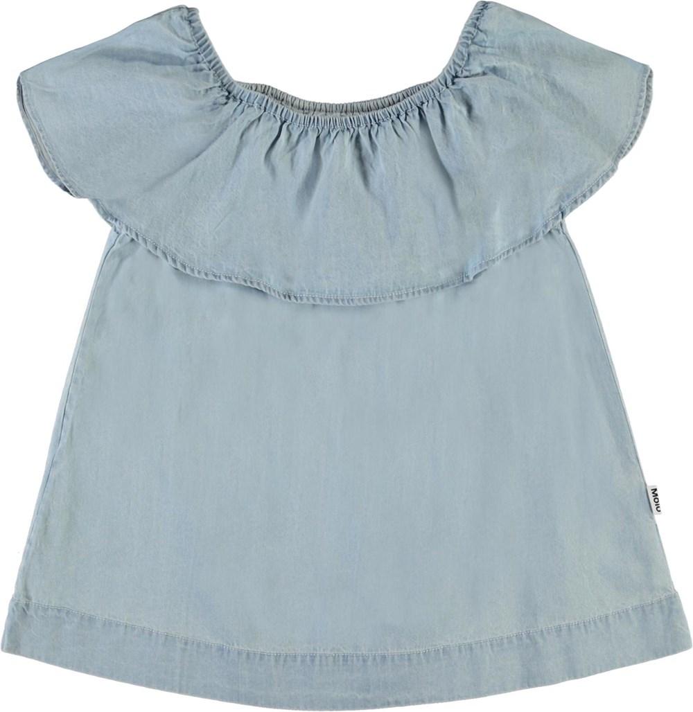 Reece - Summer Wash Indigo - Light blue organic top