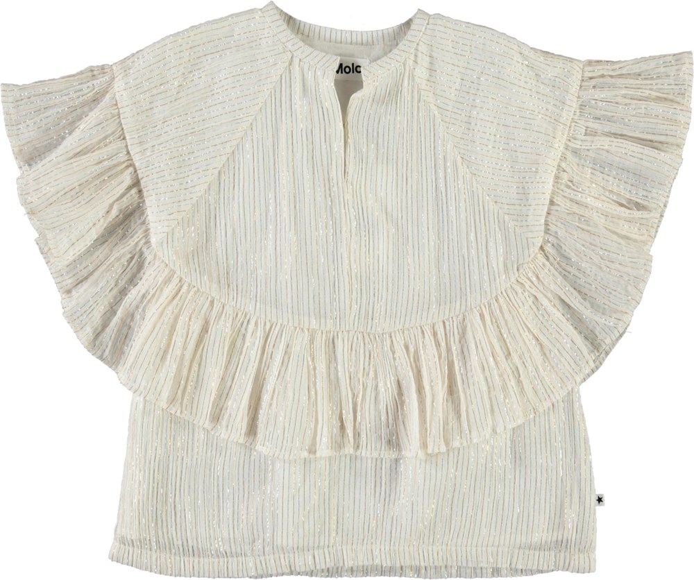 Renee - Metalic Stripe - White top with metallic stripes
