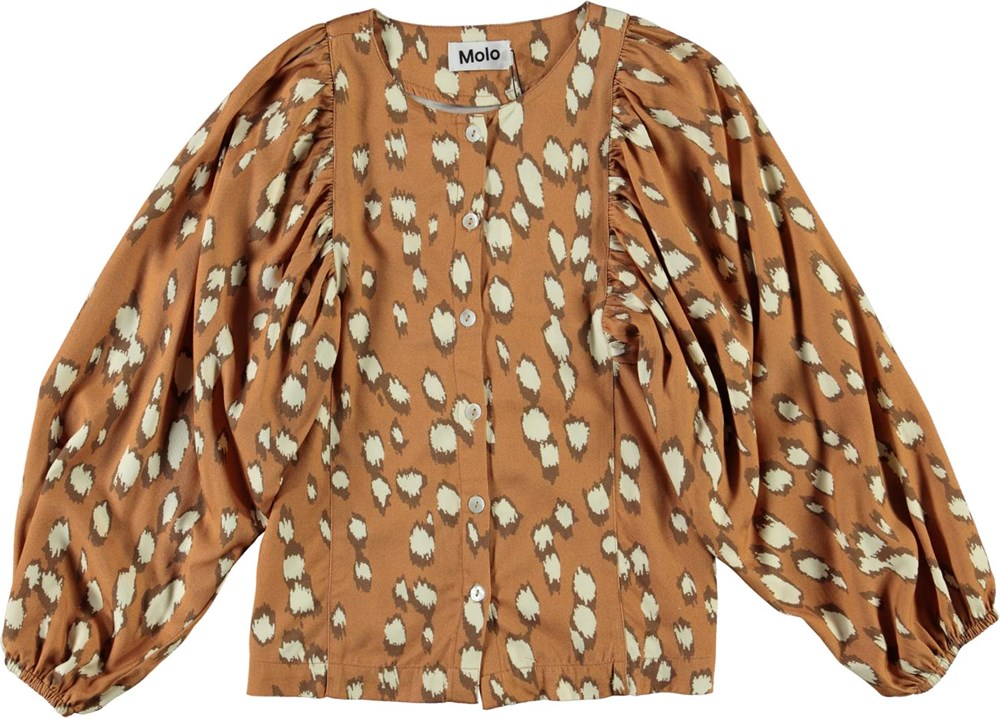 Rida - Graphic Deer - Brown shirt with white spots and puff sleeves