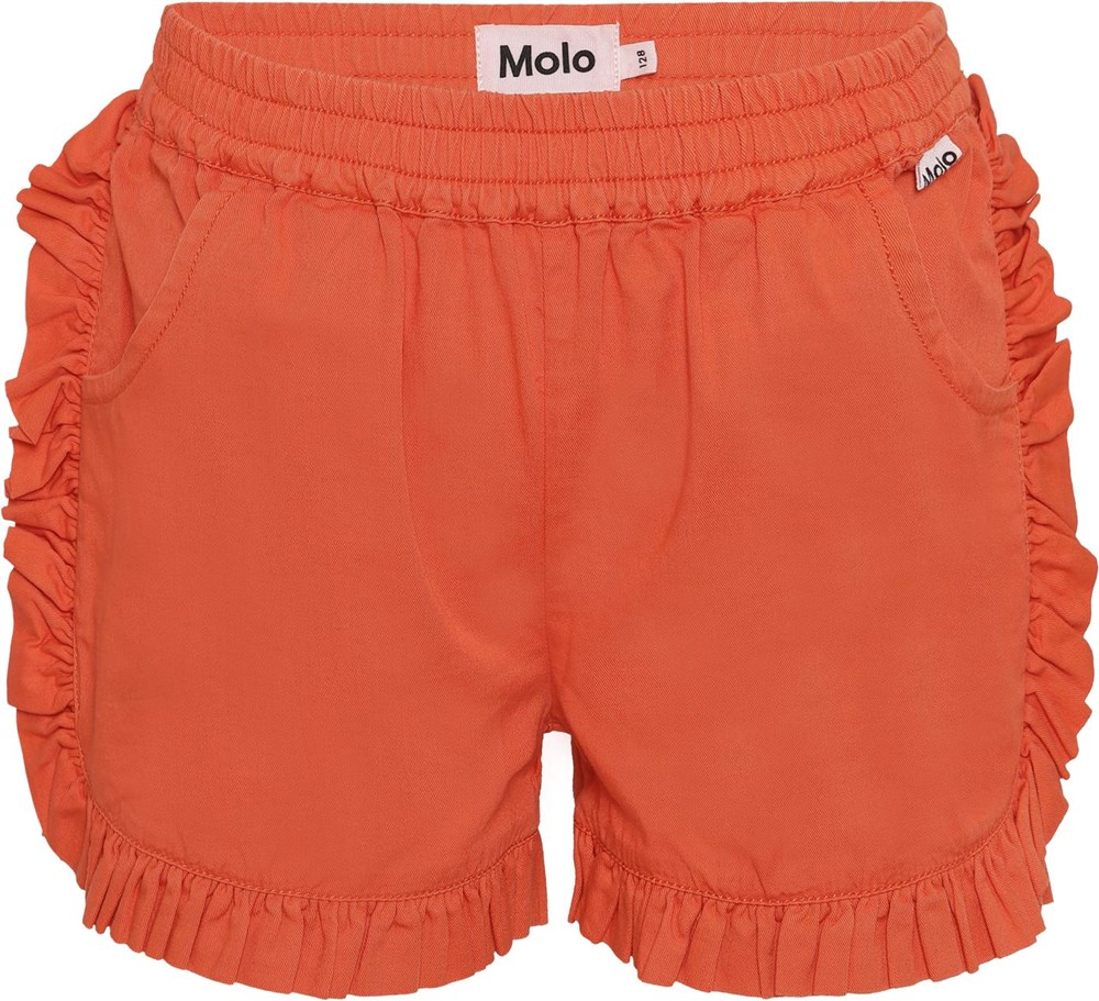 Acacia - Poppy - Coral red shorts with ruffles