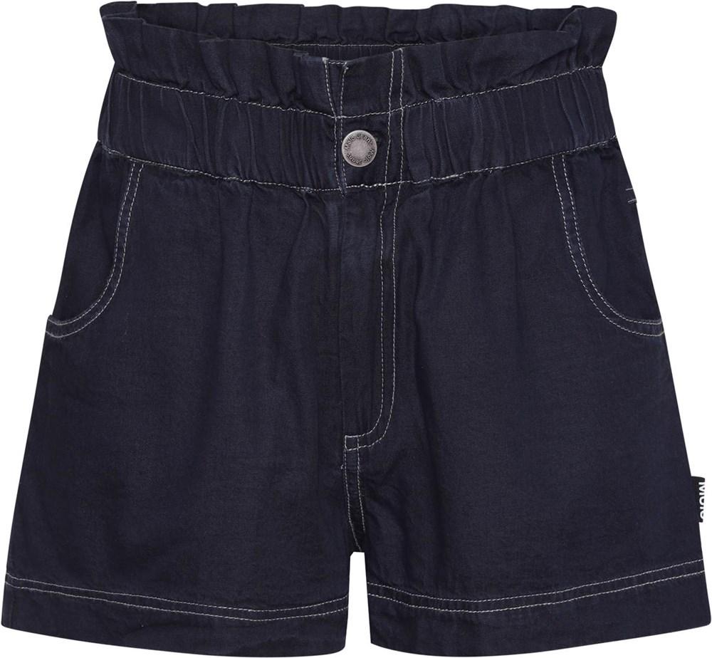 Adara - Dark Indigo - Dark blue, high waisted denim shorts