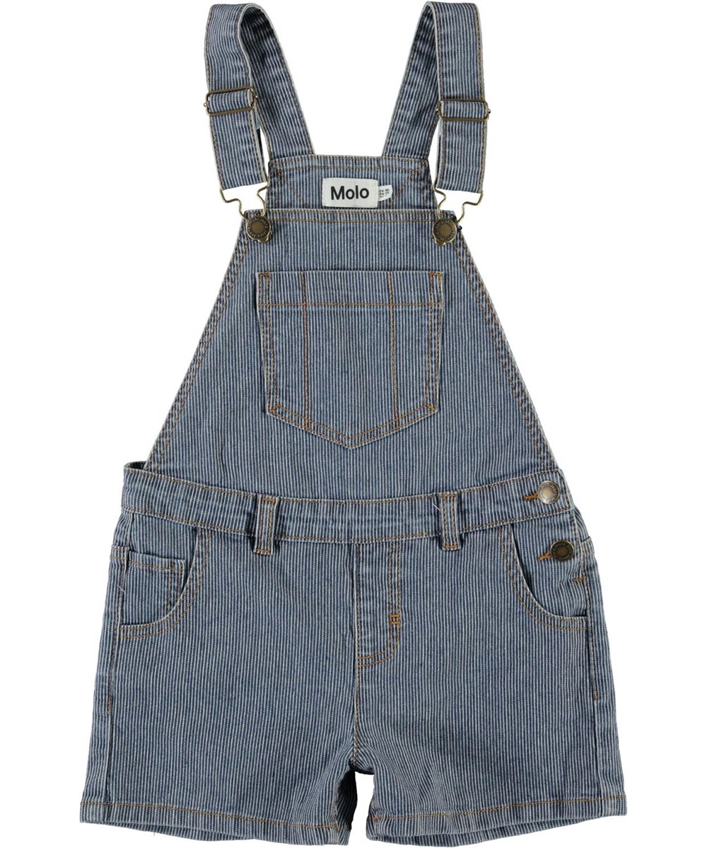 Alikami - Fine Milkboy Stripe - Blue and white dungaree shorts