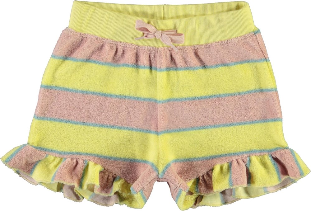Ally - Ice Cream Stripe - Rose and yellow striped terry shorts