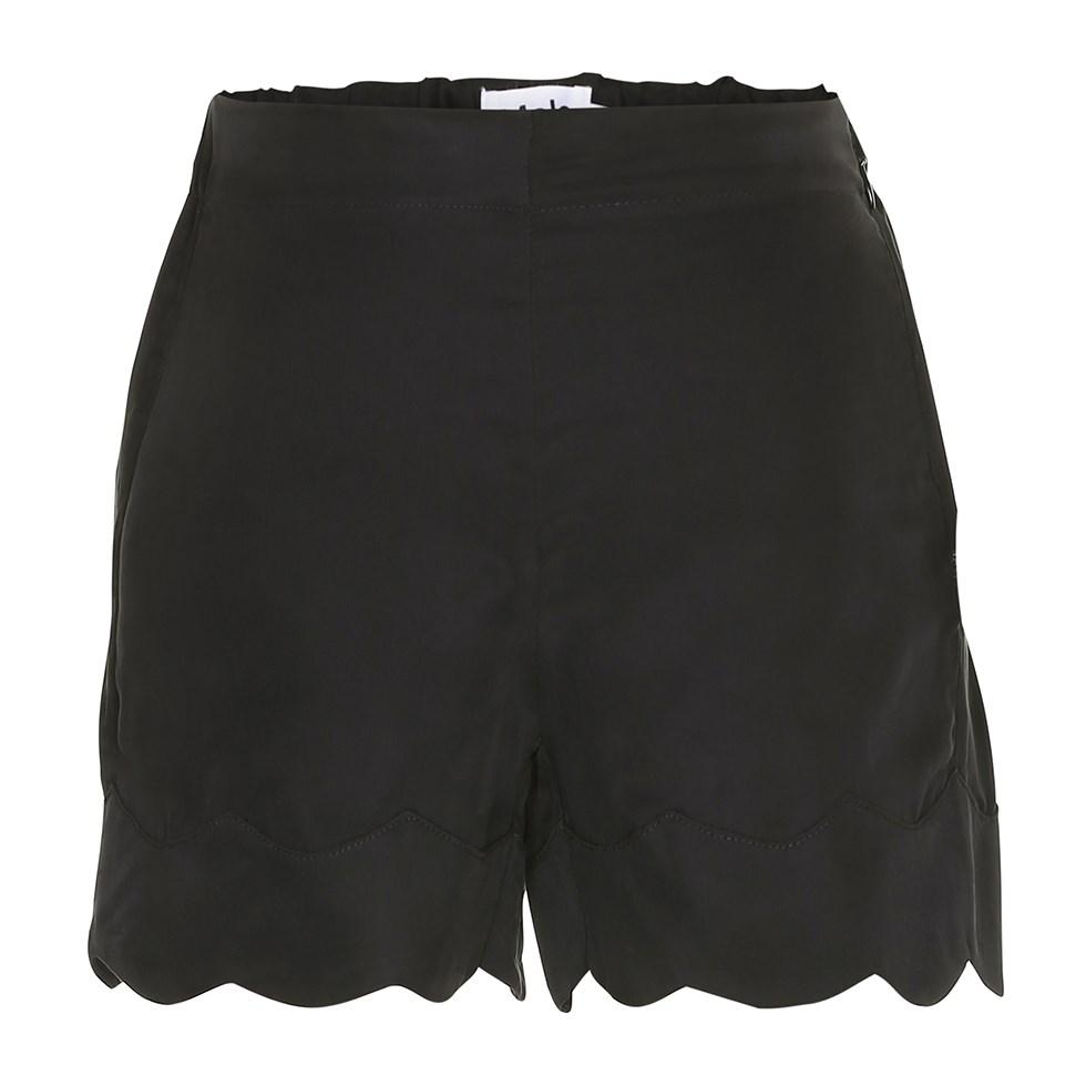 Ama - Black - Black cupro shorts with wavy edge