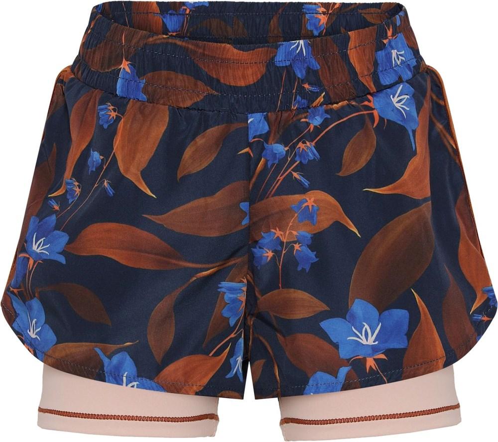Omari - Night Bloom_Big - Sports shorts with blue and brown print
