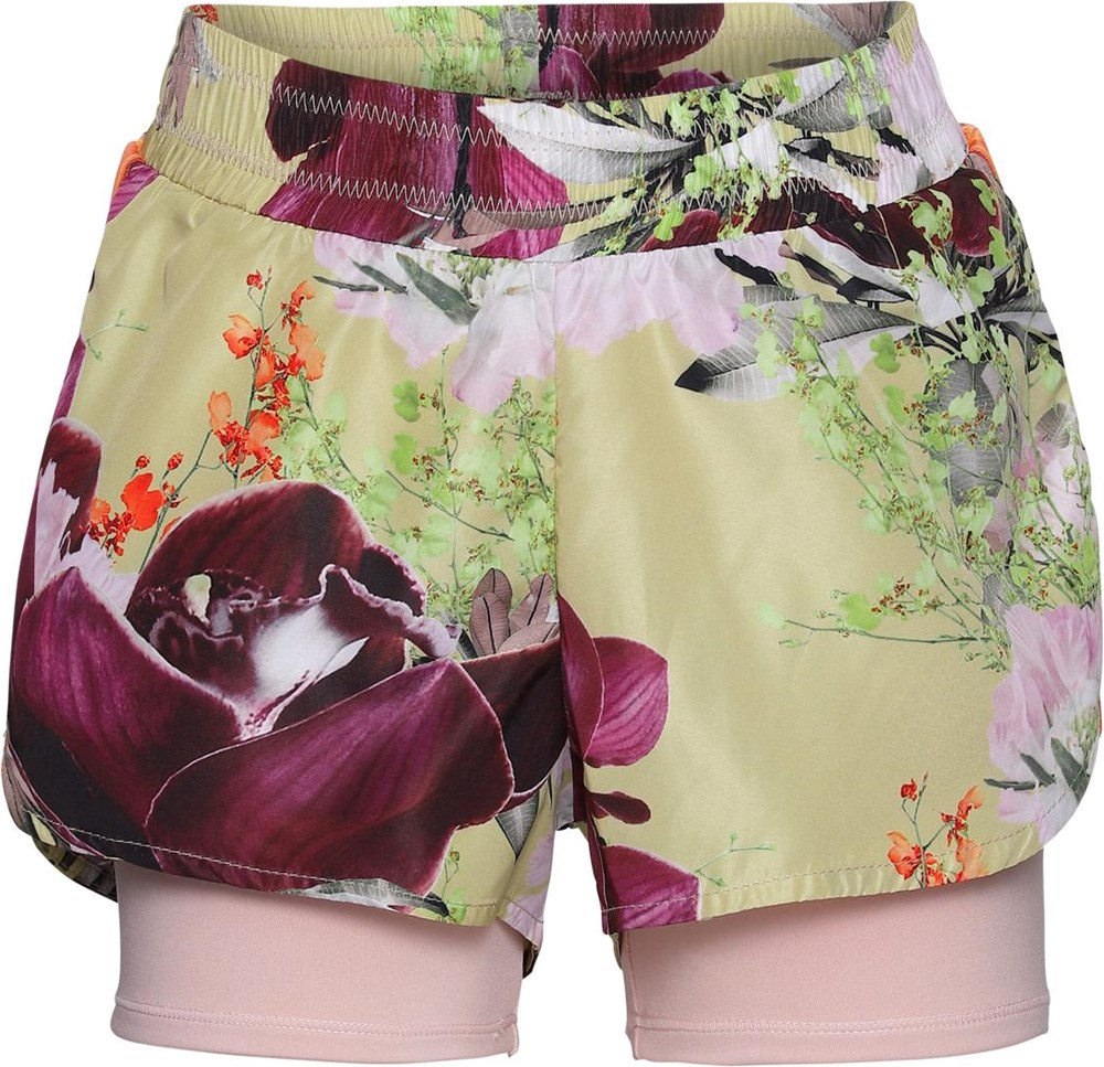 Omari - Orchid - Light yellow sports shorts with flowers
