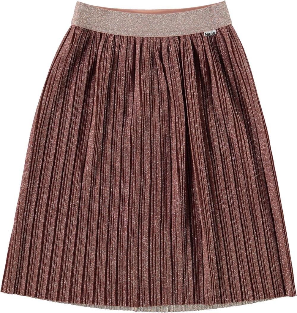 Bailini - Autumn - Pleated bronze skirt with glitter