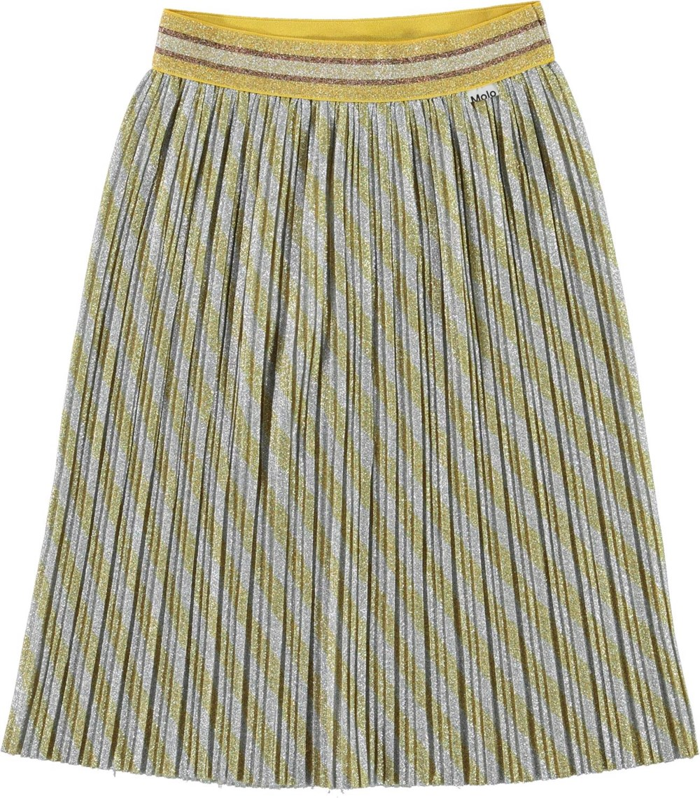 Bailini - Diagonal Gold - Pleated skirt with gold and silver glitter