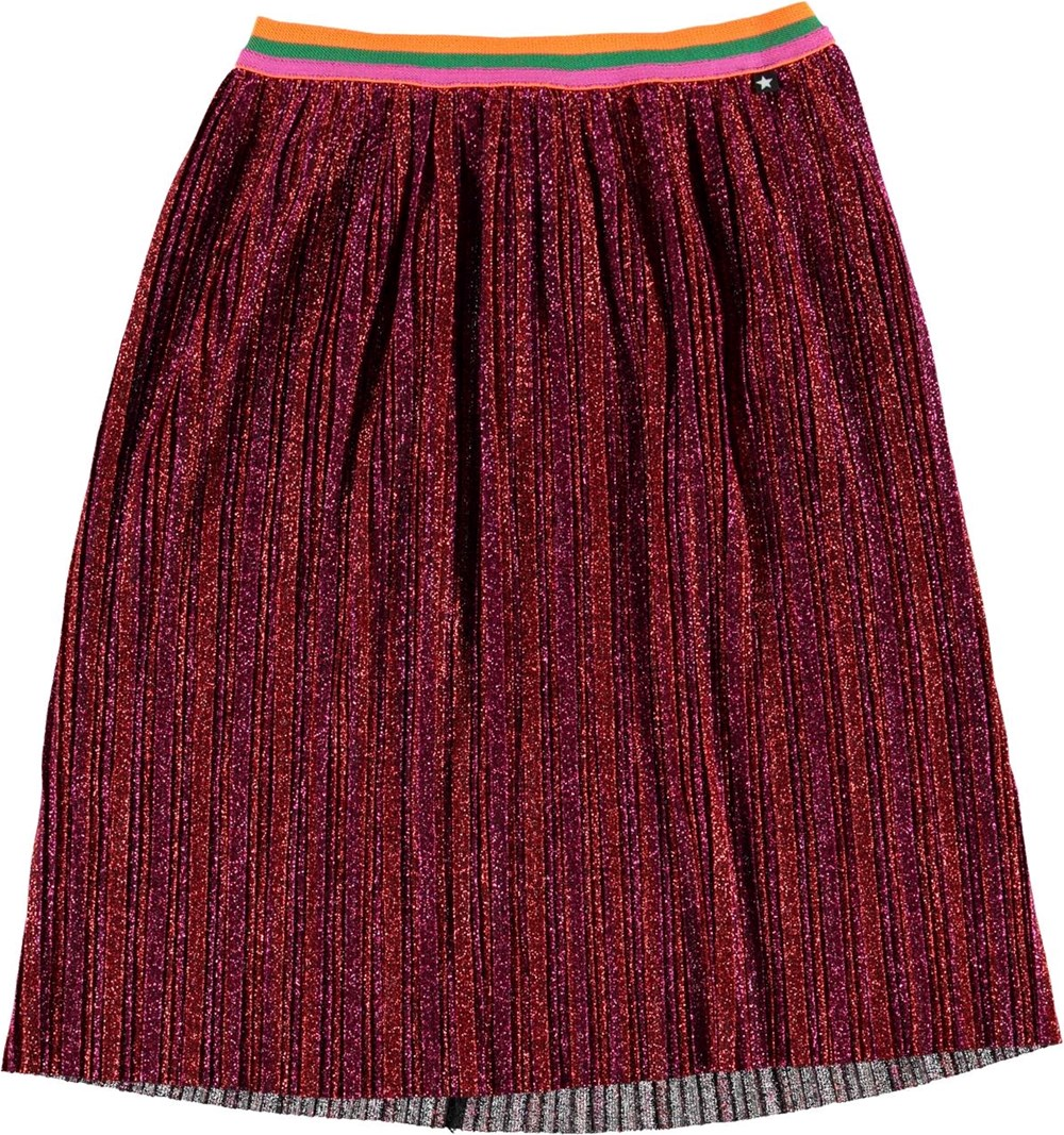 Bailini - Dragon Fruit - Red pleated skirt with glitter