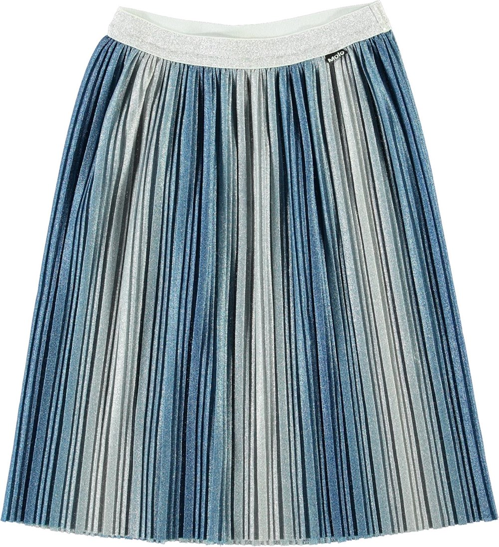 Bailini - French Blue - Pleated blue and silver glitter skirt