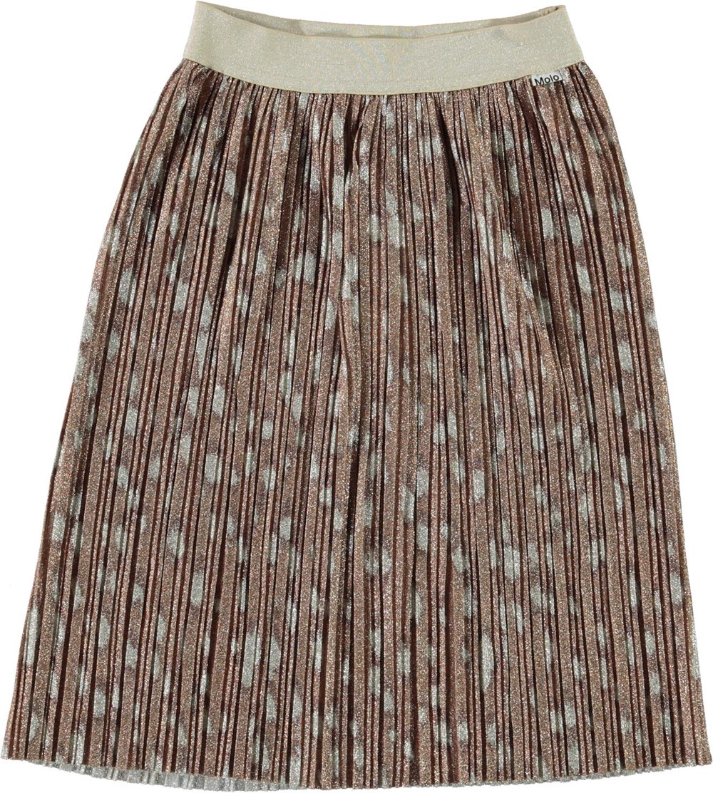 Bailini - Graphic Deer - Pleated bronze skirt with white spots