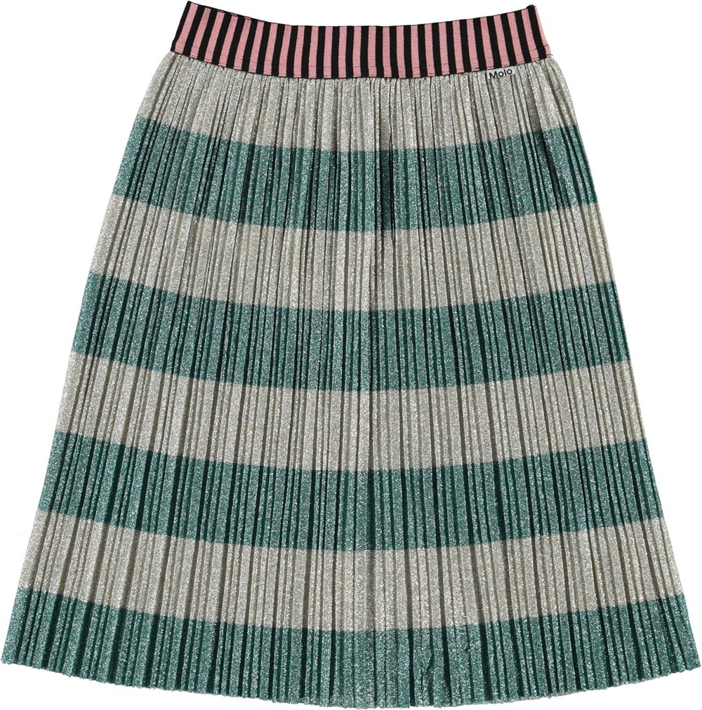 Bailini - Ivy Stripe - Pleated skirt with grey and green glitter