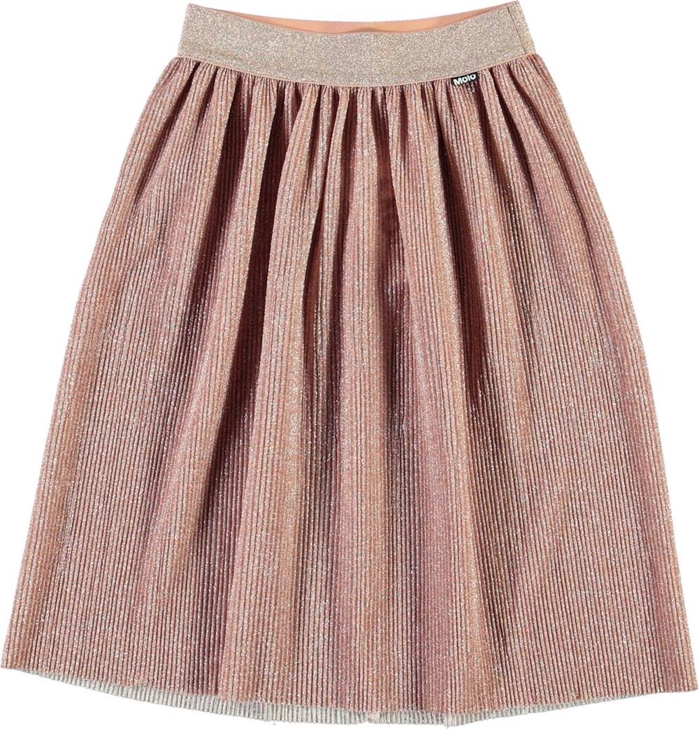 Bailini - Petal Blush - Pleated skirt in rose glitter