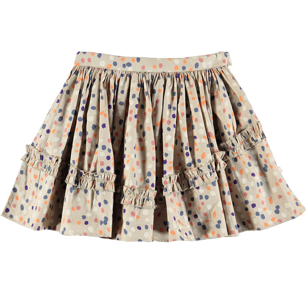 Barb - Confetti - Beige coloured skirt with coloured dots and ruffle edge