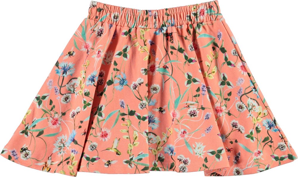 Barbera - Wildflower_Coral - Coral organic skirt with floral print