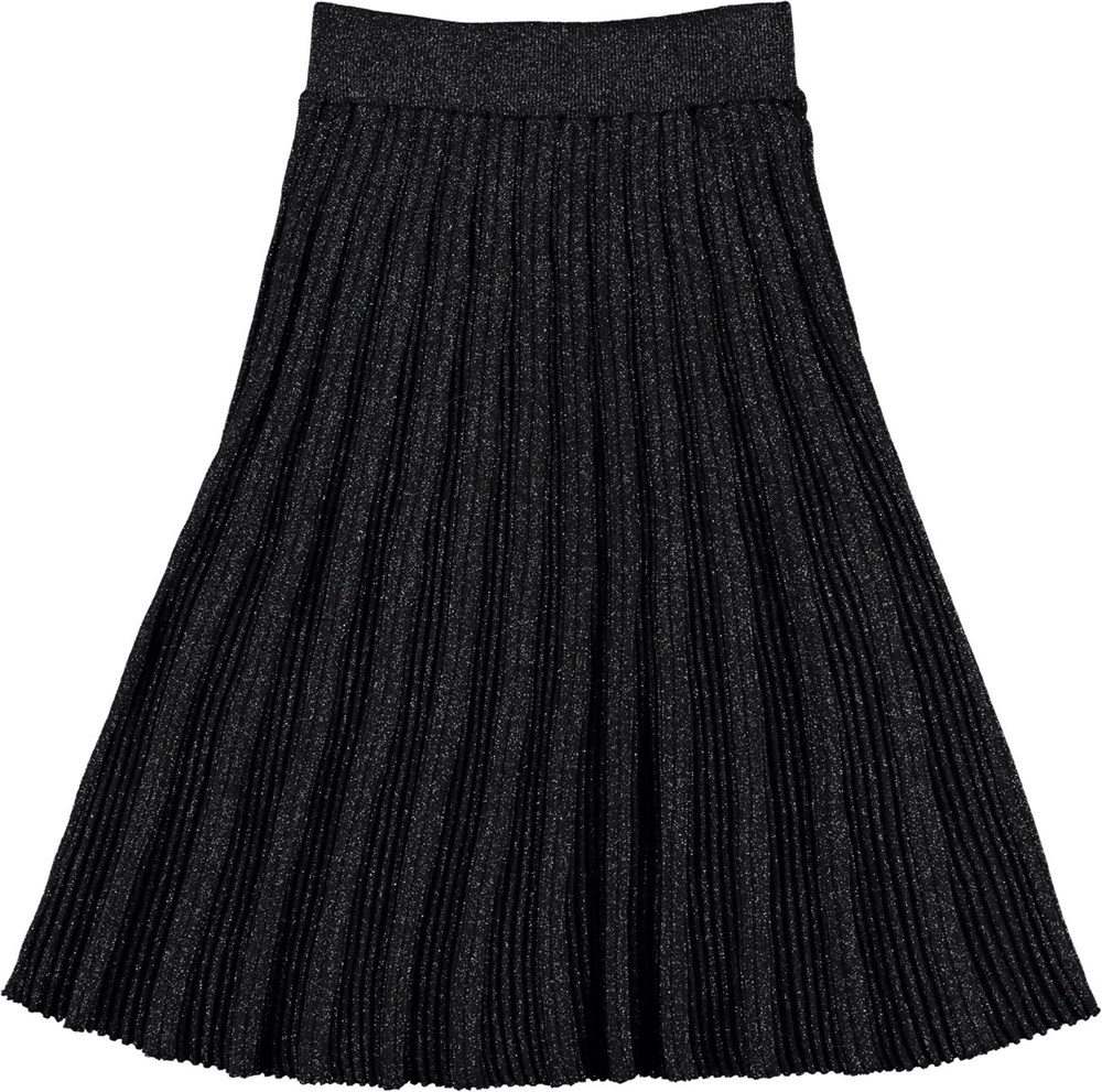 Beatrice - Black - Black pleated glitter skirt