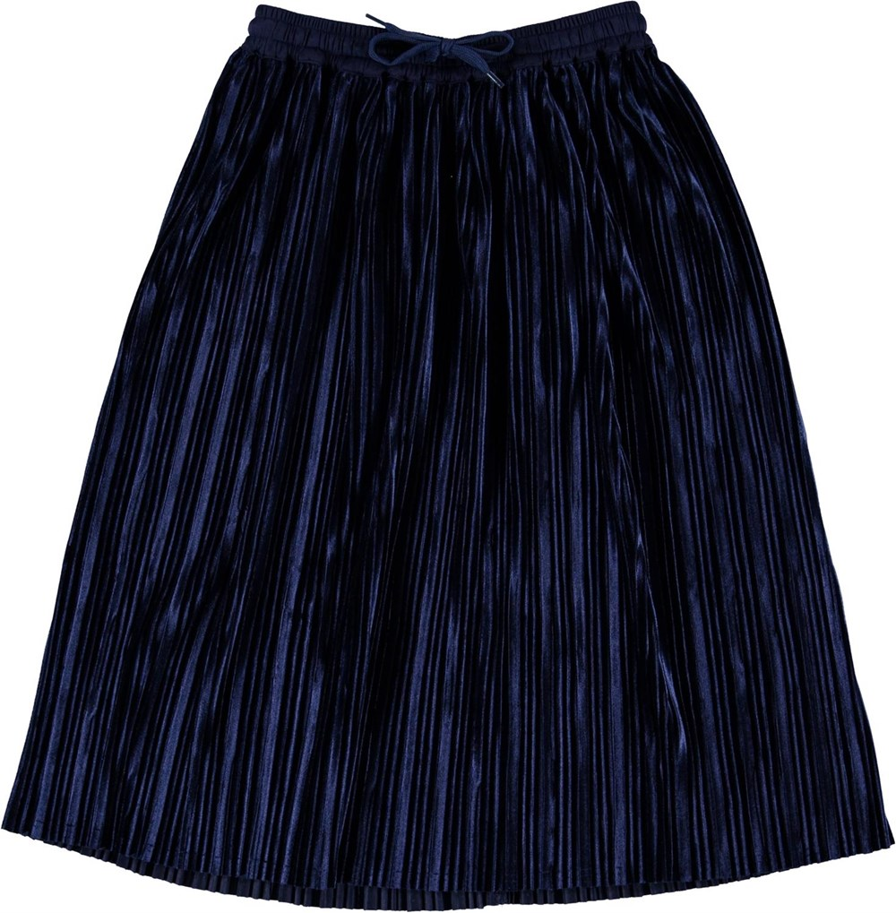 Becky - Ink Blue - Pleated blue skirt in corduroy