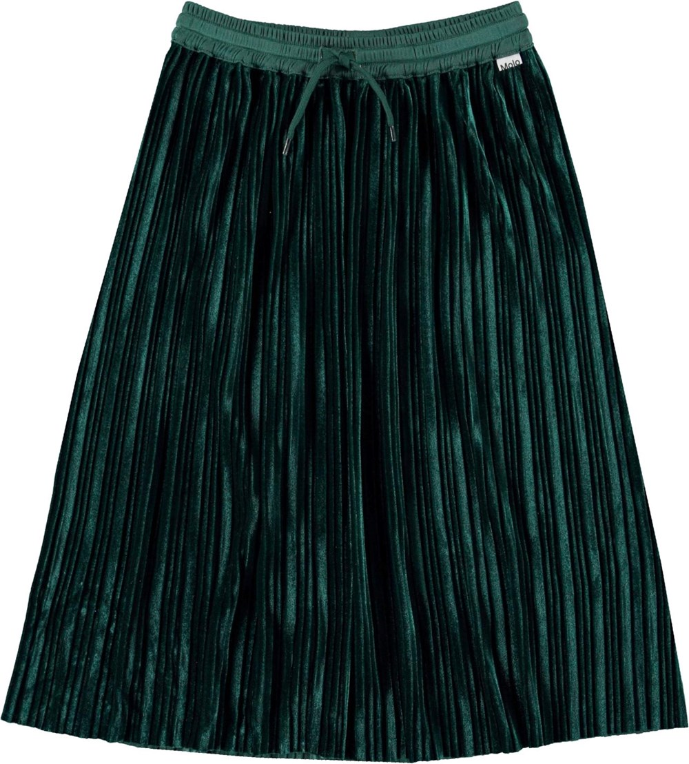 Becky - Jasper - Pleated green skirt with ties