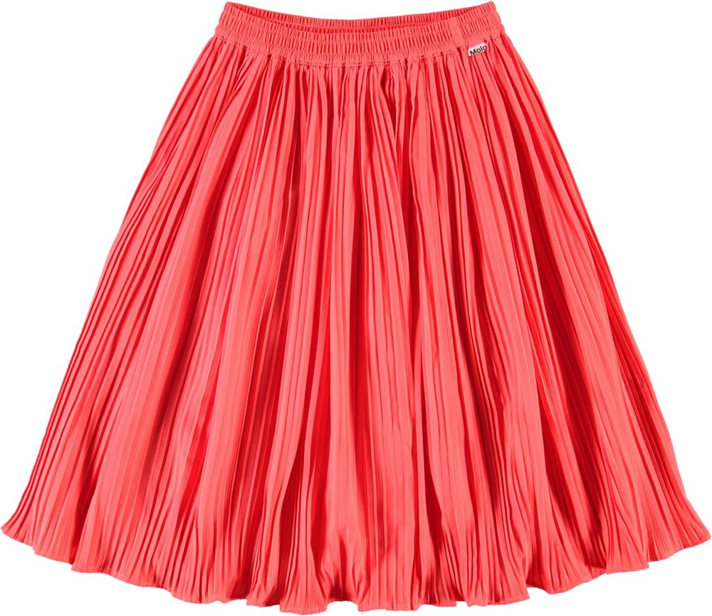 Becky - Neon Coral - Neon coral red pleated skirt