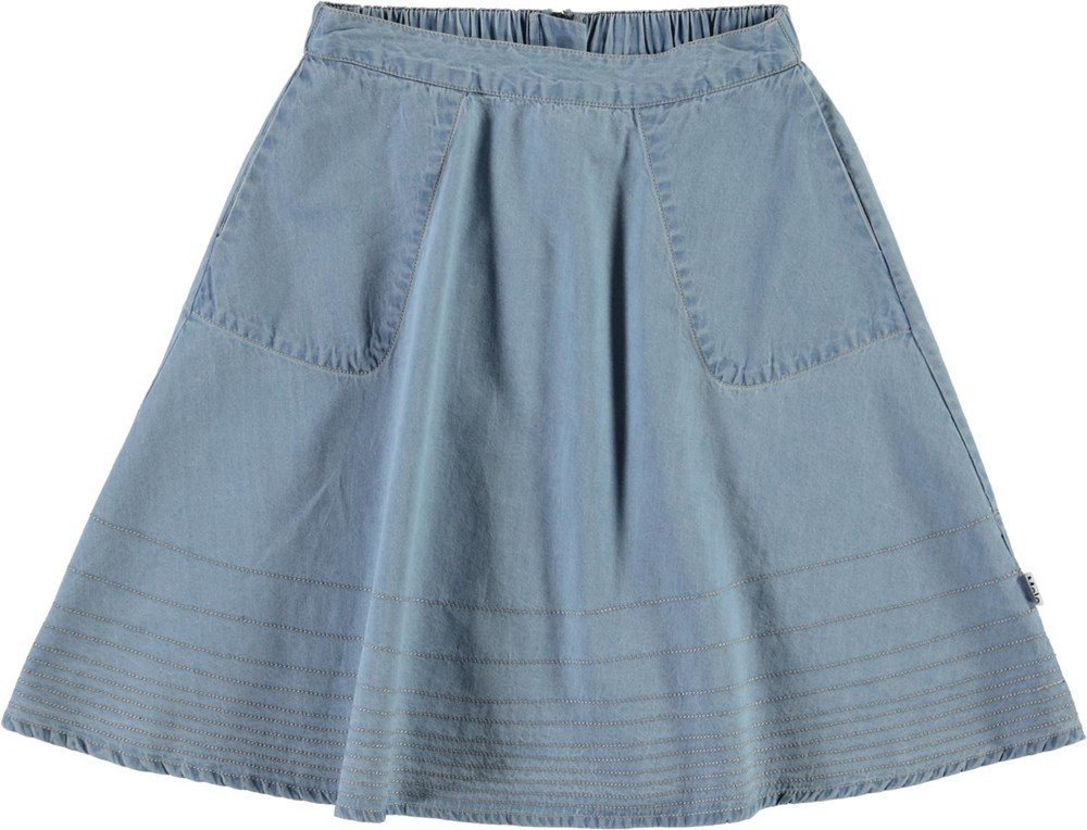 Bel - Summer Wash Indigo - Light blue denim skirt