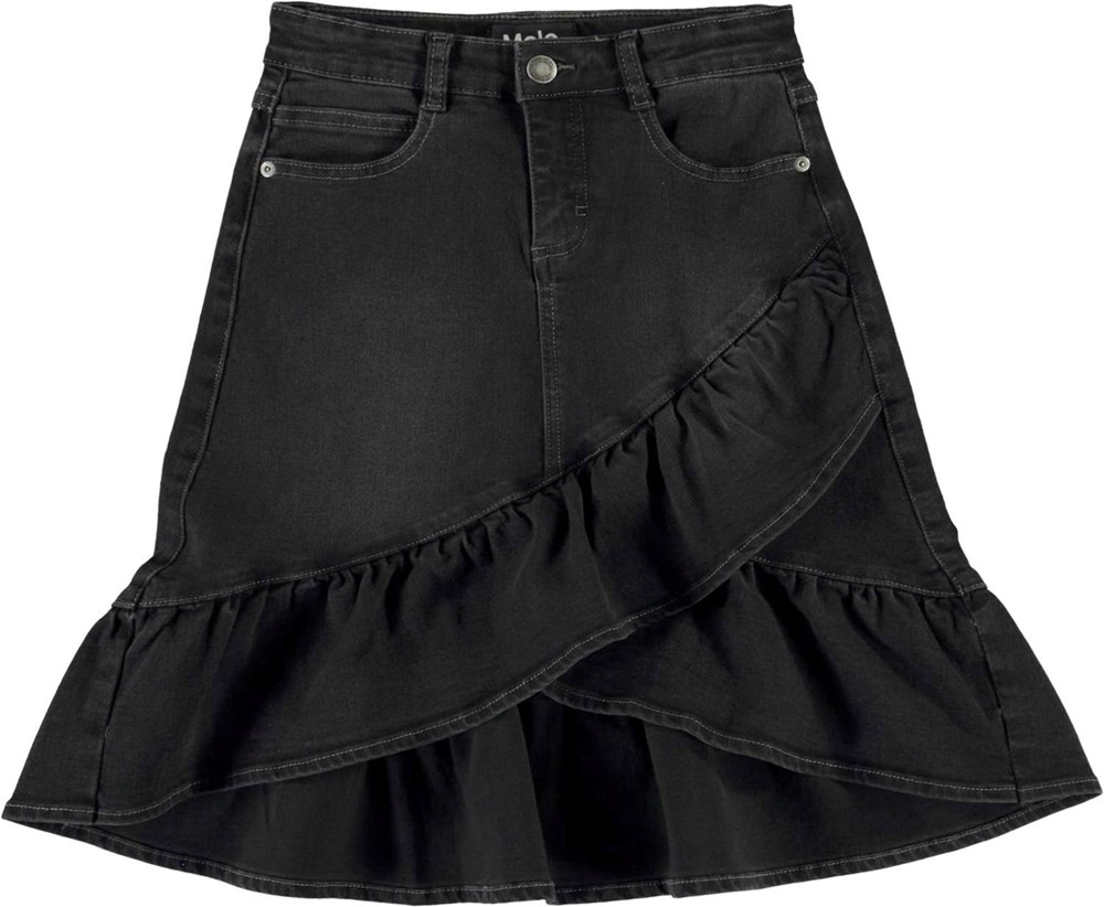 Belinda - Black Denim - Black denim skirt with ruffle