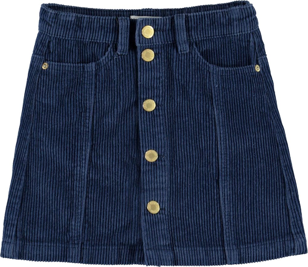 Bera - Blue Daisy - Blue corduroy skirt with buttons