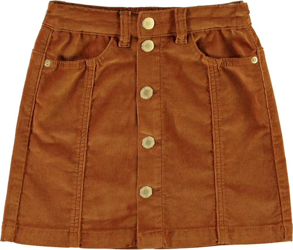 Bera - Deer - Brown corduroy skirt with buttons