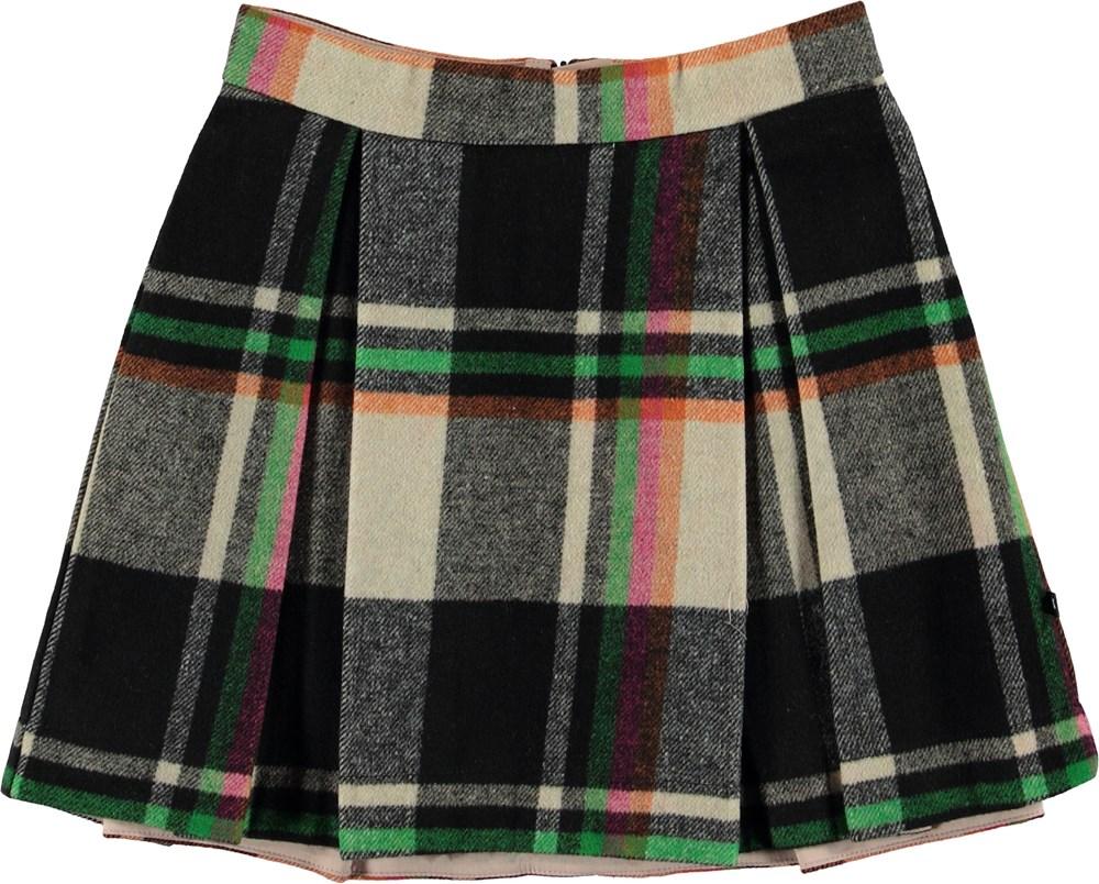 Beritta - Wintry Check - Plaid wool skirt.
