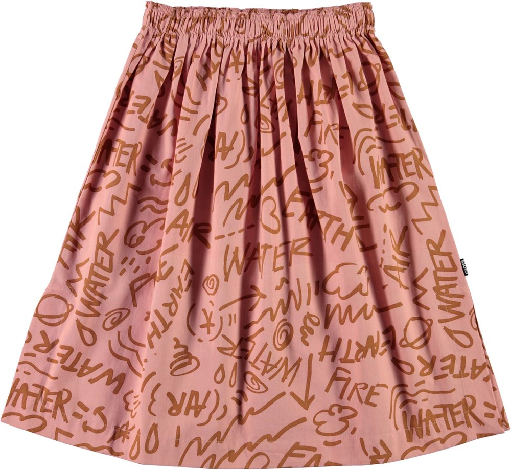 Bettina - Rose Elements - Pink cotton skirt with graphic print