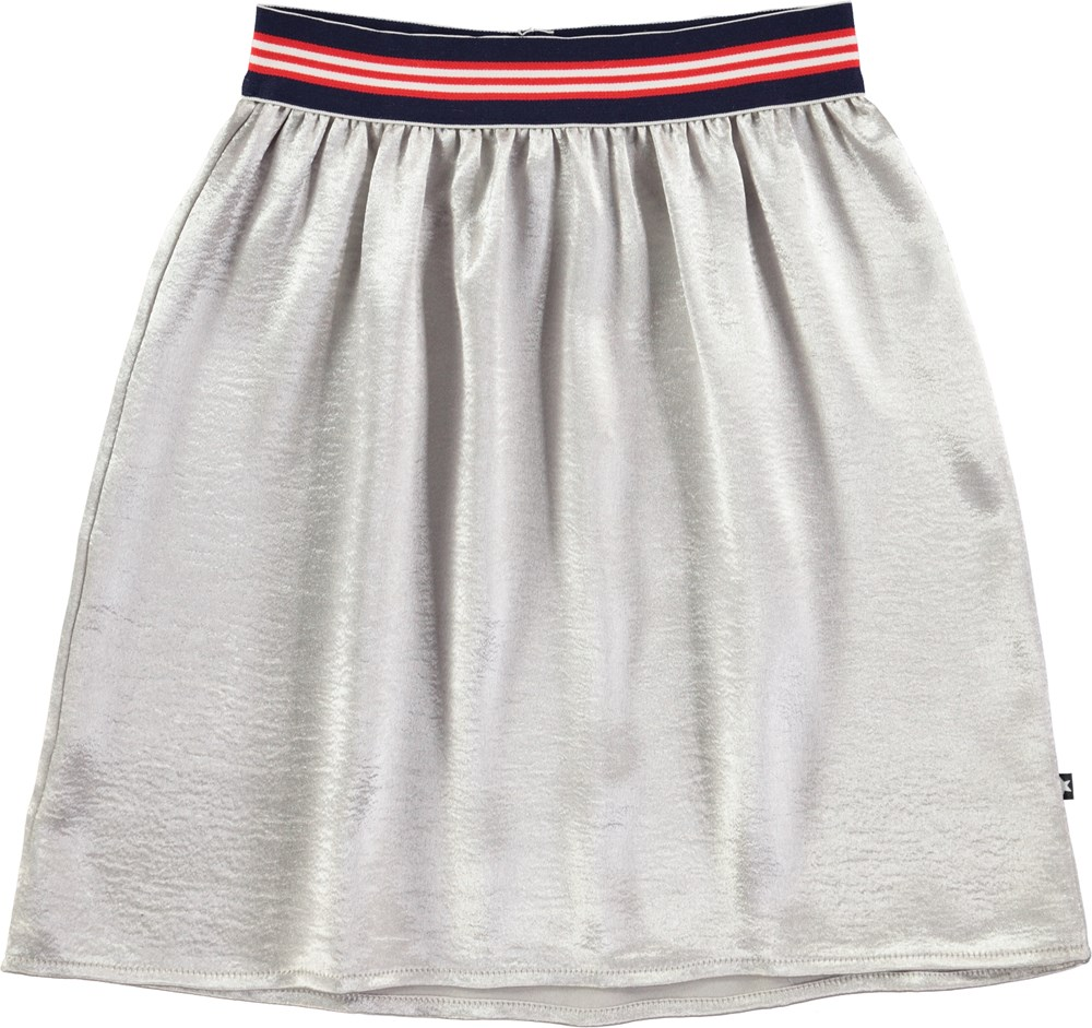 Bev - Silver - Mid-length silver skirt with striped waist